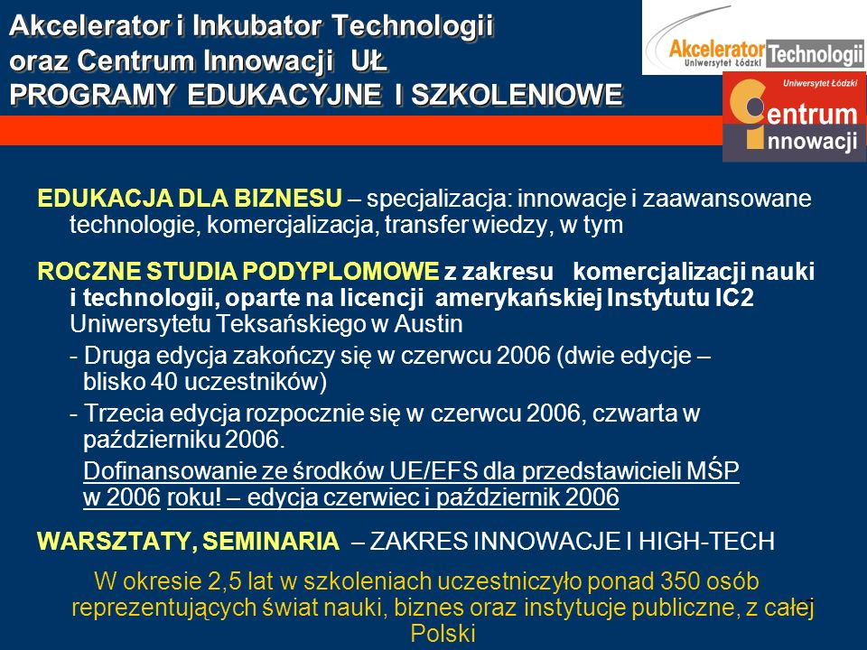 Akcelerator i Inkubator Technologii oraz Centrum Innowacji UŁ PROGRAMY EDUKACYJNE I SZKOLENIOWE