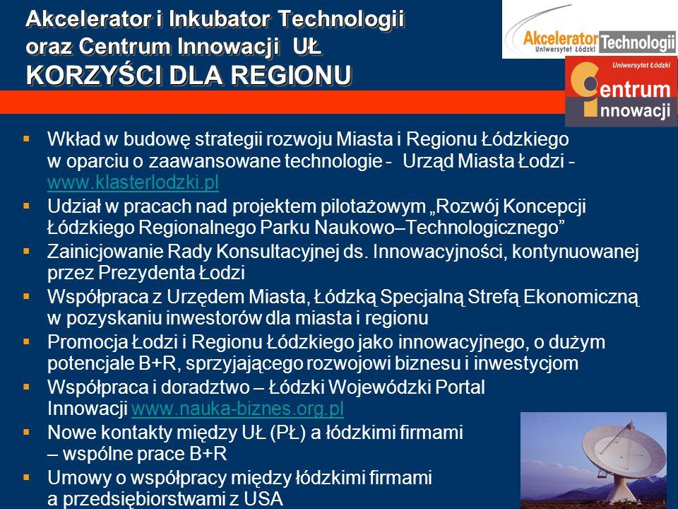 Akcelerator i Inkubator Technologii oraz Centrum Innowacji UŁ KORZYŚCI DLA REGIONU