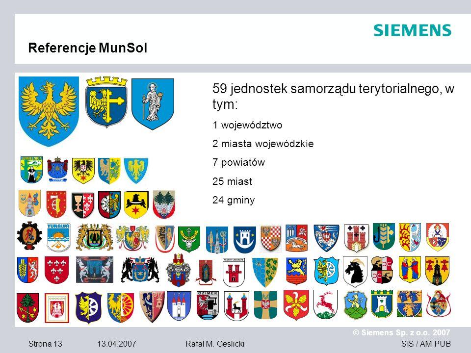 59 jednostek samorządu terytorialnego, w tym: