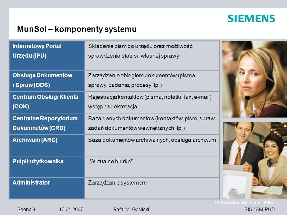 MunSol – komponenty systemu