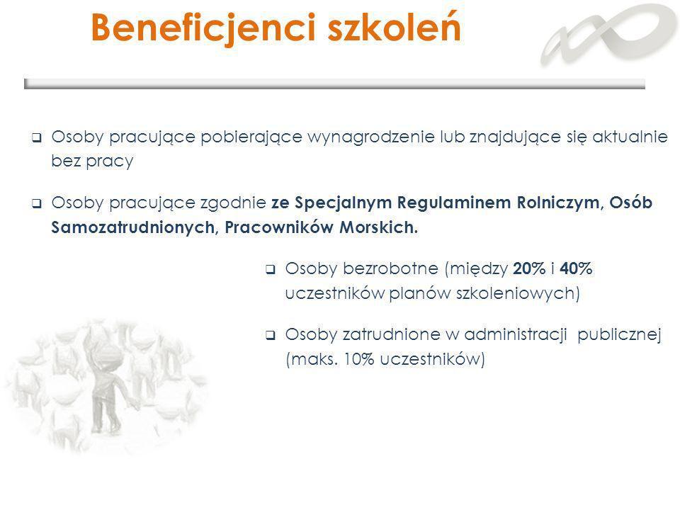 Beneficjenci szkoleń Osoby pracujące pobierające wynagrodzenie lub znajdujące się aktualnie bez pracy.