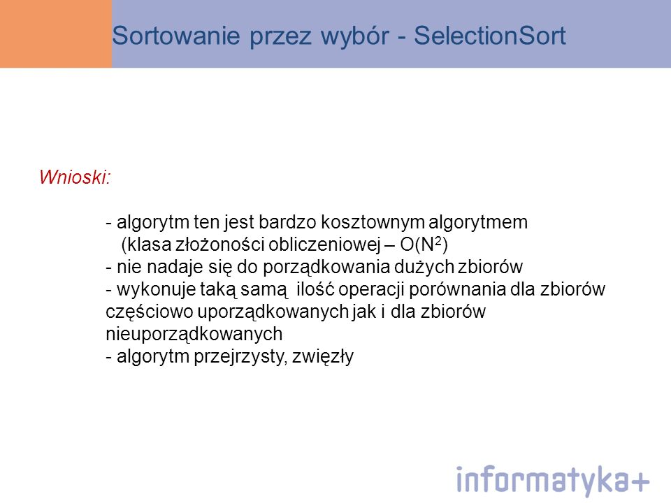 Sortowanie przez wybór - SelectionSort
