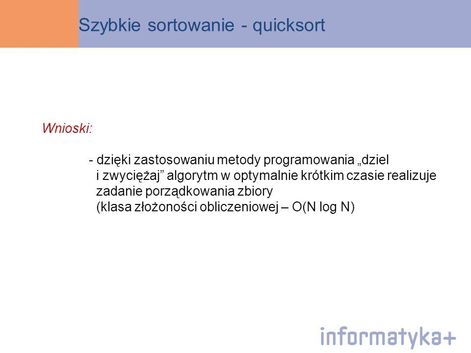 Szybkie sortowanie - quicksort