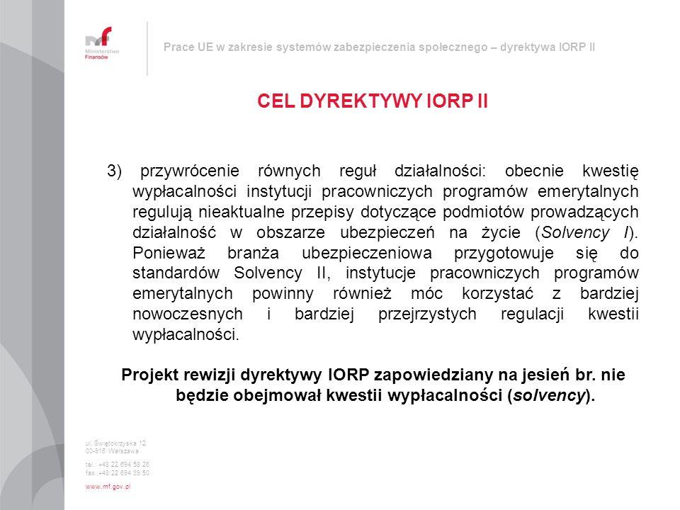 Prace UE w zakresie systemów zabezpieczenia społecznego – dyrektywa IORP II