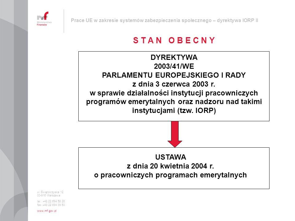 PARLAMENTU EUROPEJSKIEGO I RADY instytucjami (tzw. IORP)
