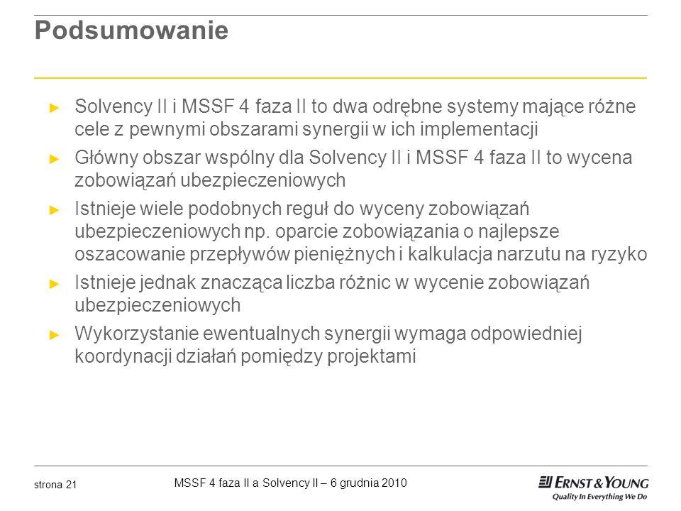 Podsumowanie Solvency II i MSSF 4 faza II to dwa odrębne systemy mające różne cele z pewnymi obszarami synergii w ich implementacji.