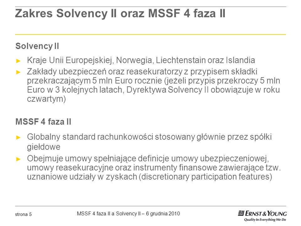 Zakres Solvency II oraz MSSF 4 faza II
