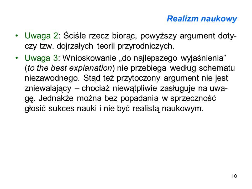 Realizm naukowyUwaga 2: Ściśle rzecz biorąc, powyższy argument doty-czy tzw. dojrzałych teorii przyrodniczych.