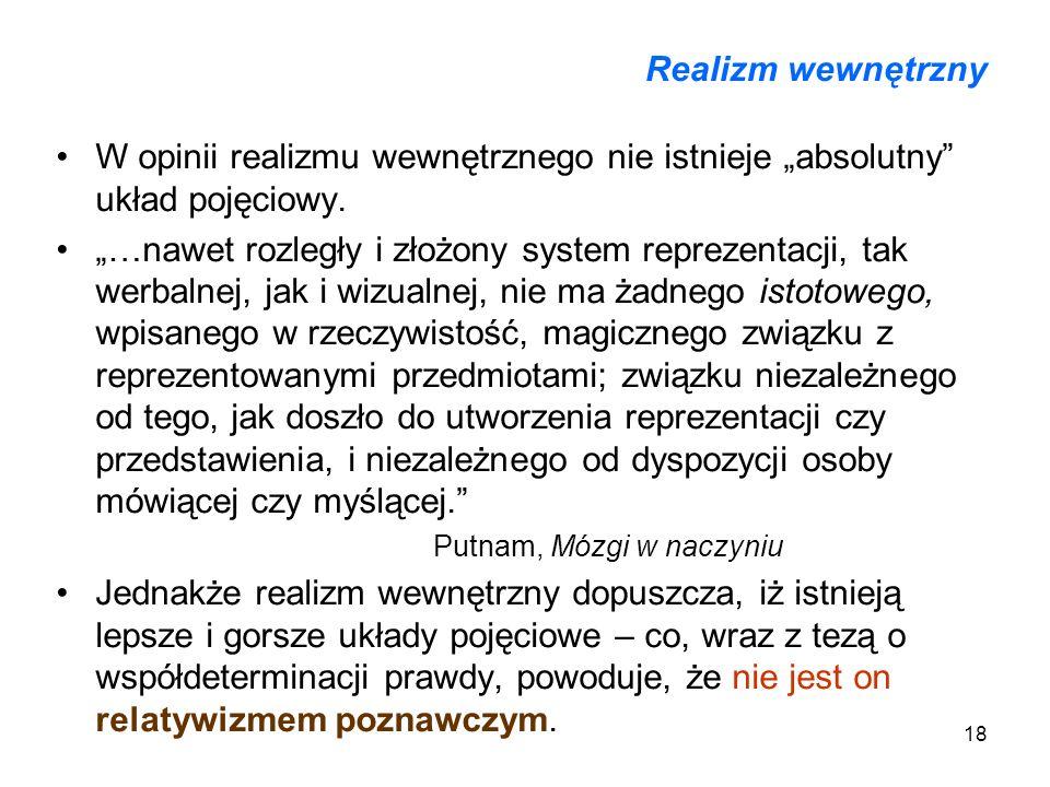 """Realizm wewnętrznyW opinii realizmu wewnętrznego nie istnieje """"absolutny układ pojęciowy."""