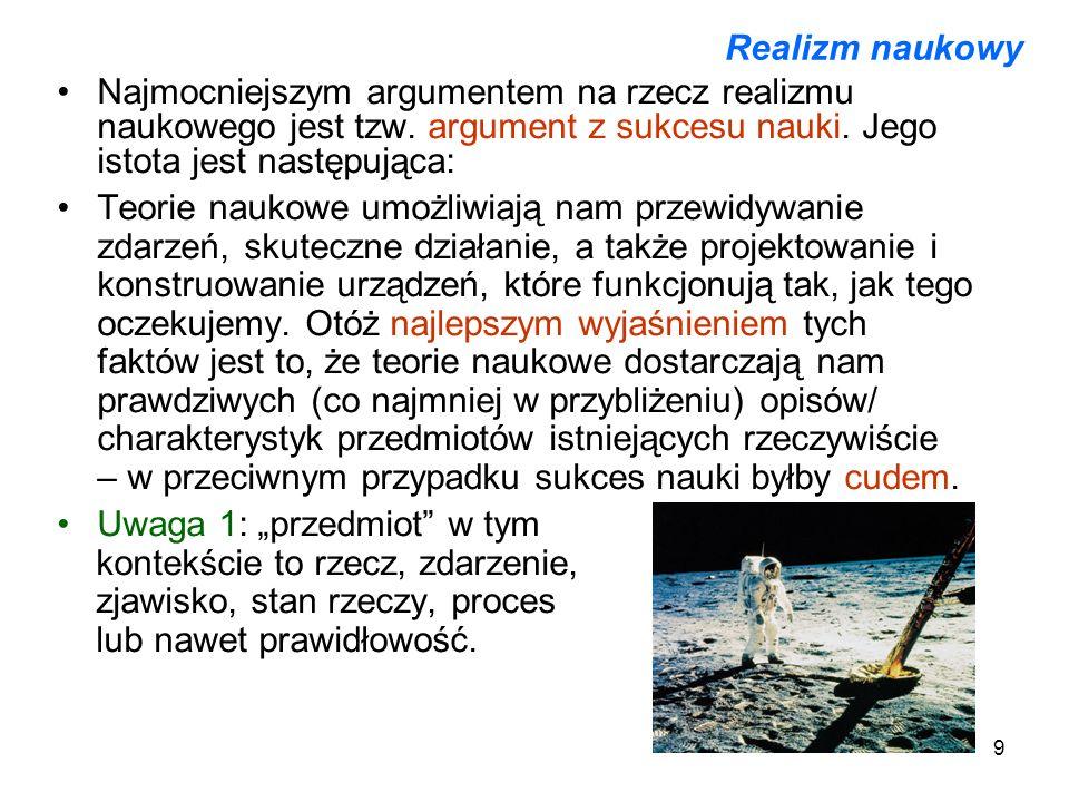 Realizm naukowyNajmocniejszym argumentem na rzecz realizmu naukowego jest tzw. argument z sukcesu nauki. Jego istota jest następująca: