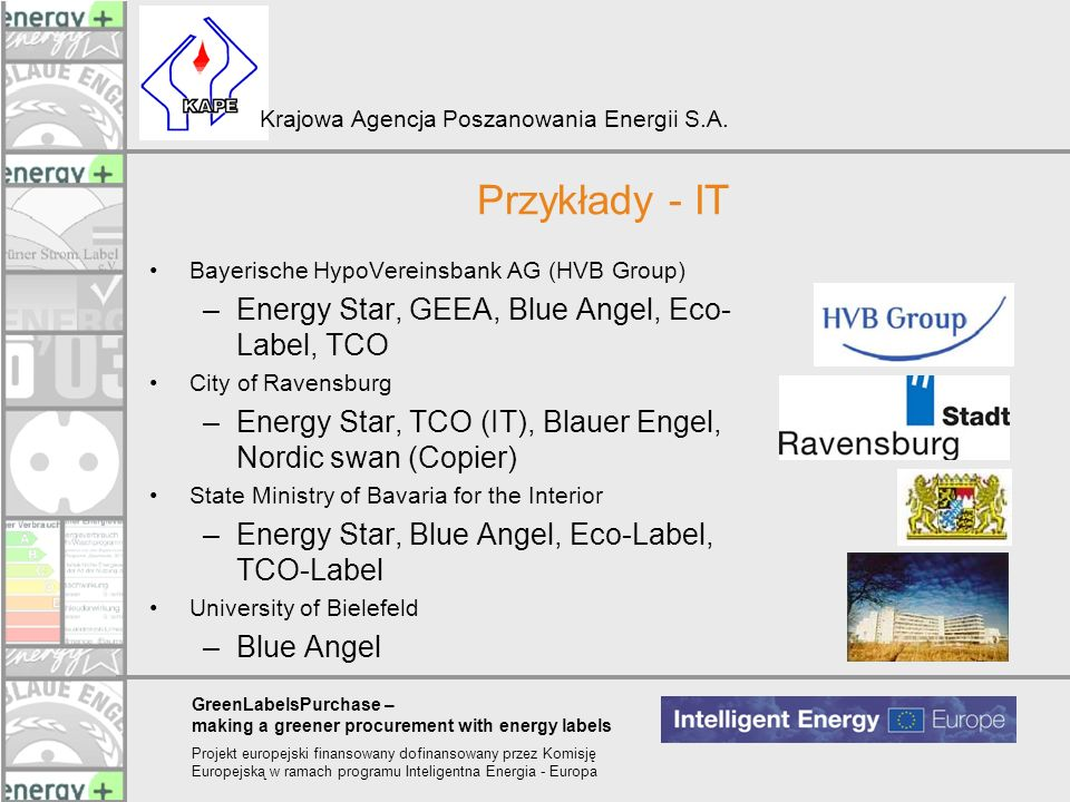 Przykłady - IT Energy Star, GEEA, Blue Angel, Eco-Label, TCO