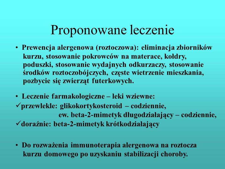 Proponowane leczenie Prewencja alergenowa (roztoczowa): eliminacja zbiorników. kurzu, stosowanie pokrowców na materace, kołdry,
