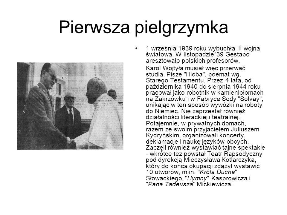 Pierwsza pielgrzymka 1 września 1939 roku wybuchła II wojna światowa. W listopadzie 39 Gestapo aresztowało polskich profesorów,