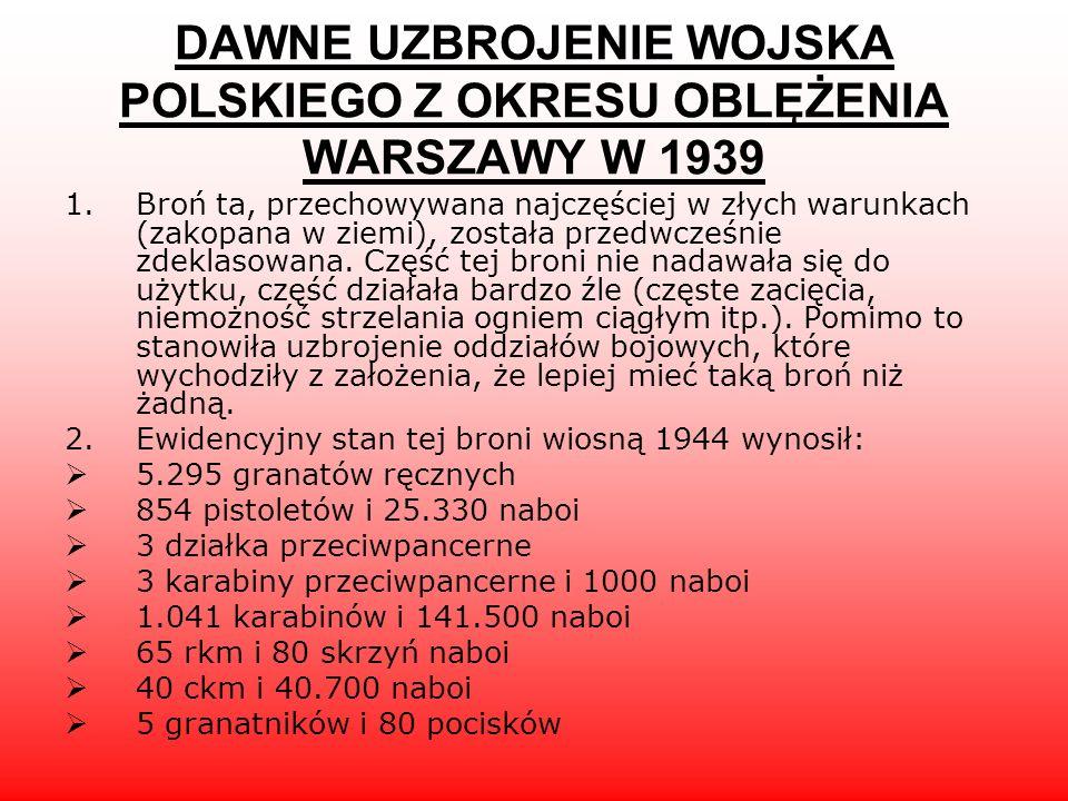 DAWNE UZBROJENIE WOJSKA POLSKIEGO Z OKRESU OBLĘŻENIA WARSZAWY W 1939