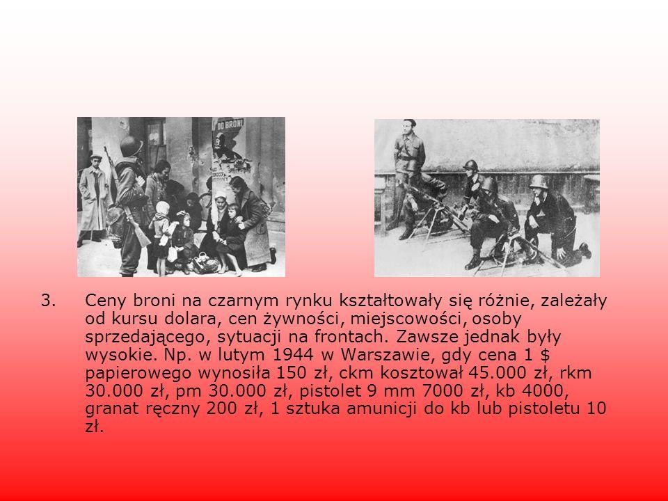 Ceny broni na czarnym rynku kształtowały się różnie, zależały od kursu dolara, cen żywności, miejscowości, osoby sprzedającego, sytuacji na frontach.