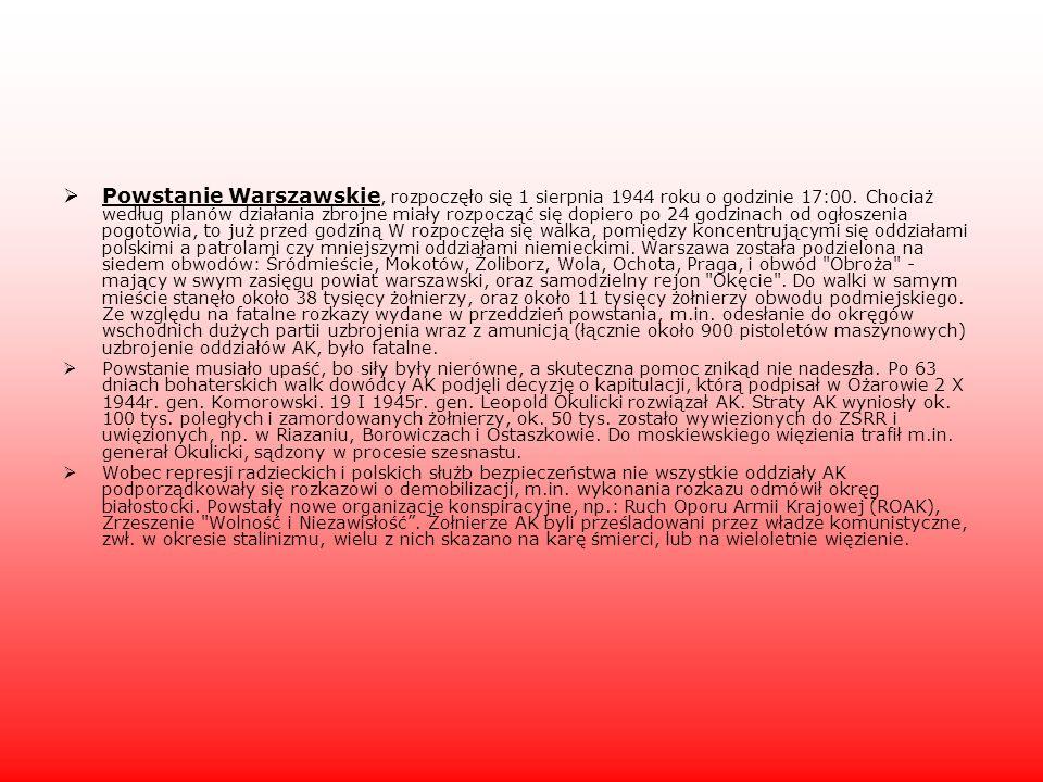 Powstanie Warszawskie, rozpoczęło się 1 sierpnia 1944 roku o godzinie 17:00. Chociaż według planów działania zbrojne miały rozpocząć się dopiero po 24 godzinach od ogłoszenia pogotowia, to już przed godziną W rozpoczęła się walka, pomiędzy koncentrującymi się oddziałami polskimi a patrolami czy mniejszymi oddziałami niemieckimi. Warszawa została podzielona na siedem obwodów: Śródmieście, Mokotów, Żoliborz, Wola, Ochota, Praga, i obwód Obroża - mający w swym zasięgu powiat warszawski, oraz samodzielny rejon Okęcie . Do walki w samym mieście stanęło około 38 tysięcy żołnierzy, oraz około 11 tysięcy żołnierzy obwodu podmiejskiego. Ze względu na fatalne rozkazy wydane w przeddzień powstania, m.in. odesłanie do okręgów wschodnich dużych partii uzbrojenia wraz z amunicją (łącznie około 900 pistoletów maszynowych) uzbrojenie oddziałów AK, było fatalne.