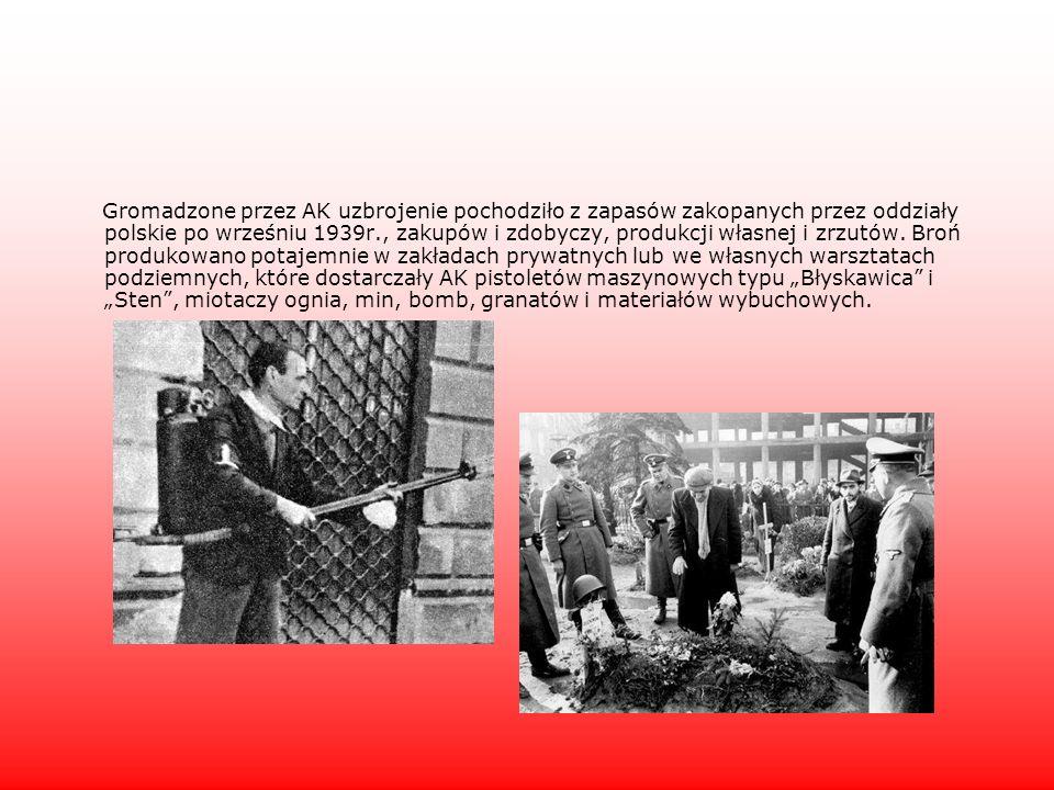 Gromadzone przez AK uzbrojenie pochodziło z zapasów zakopanych przez oddziały polskie po wrześniu 1939r., zakupów i zdobyczy, produkcji własnej i zrzutów.