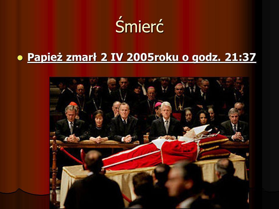 Śmierć Papież zmarł 2 IV 2005roku o godz. 21:37
