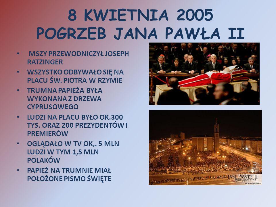 8 KWIETNIA 2005 POGRZEB JANA PAWŁA II