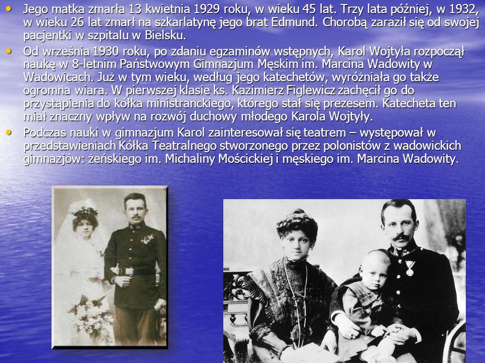 Jego matka zmarła 13 kwietnia 1929 roku, w wieku 45 lat