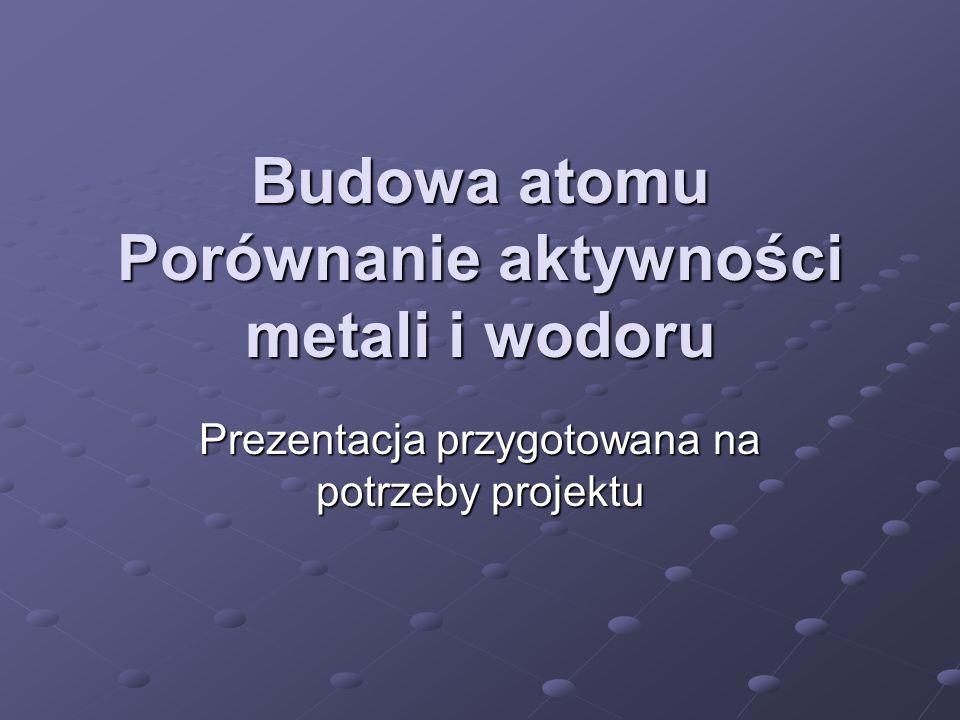 Budowa atomu Porównanie aktywności metali i wodoru