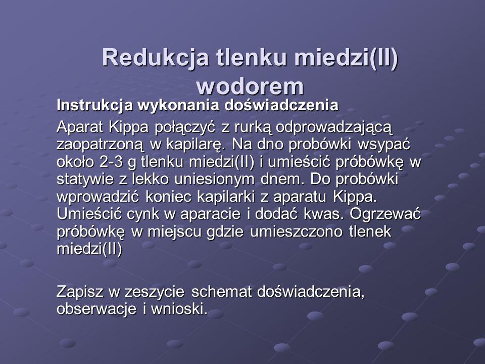 Redukcja tlenku miedzi(II) wodorem