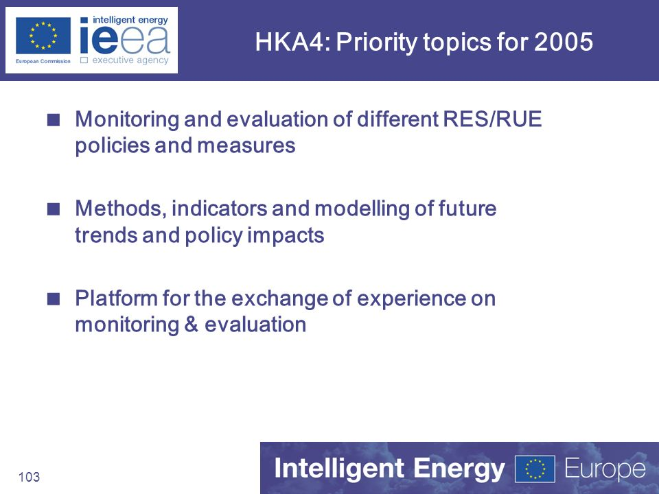 HKA4: Priority topics for 2005