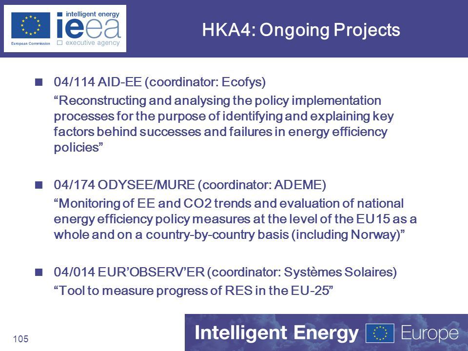 HKA4: Ongoing Projects 04/114 AID-EE (coordinator: Ecofys)