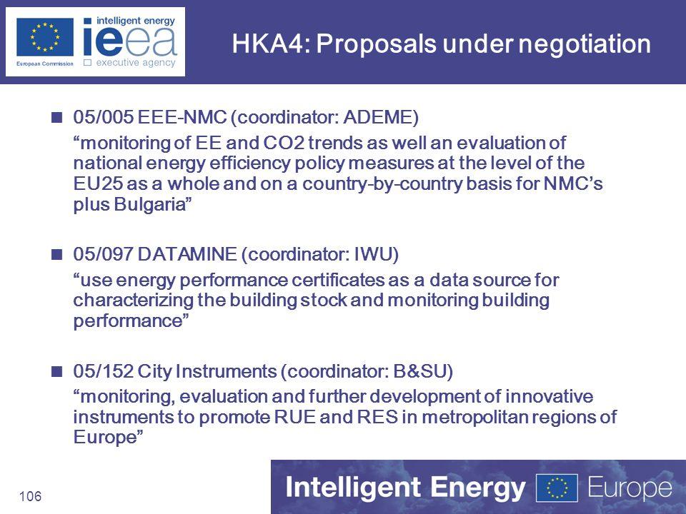 HKA4: Proposals under negotiation