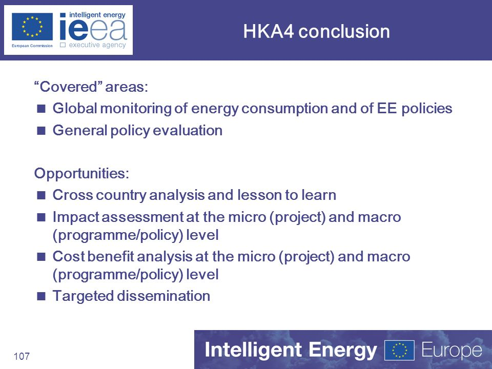 HKA4 conclusion Covered areas:
