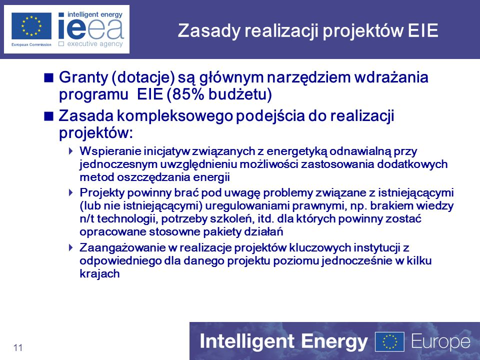 Zasady realizacji projektów EIE