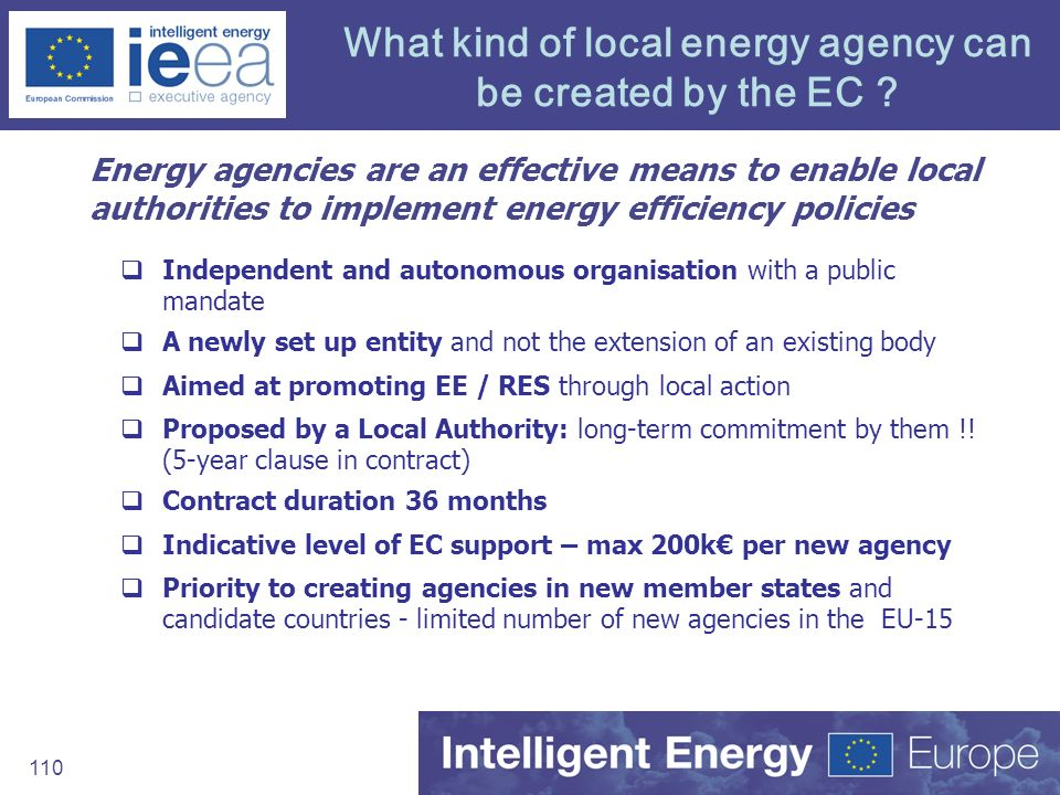 What kind of local energy agency can be created by the EC