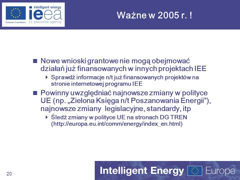 Ważne w 2005 r. ! Nowe wnioski grantowe nie mogą obejmować działań już finansowanych w innych projektach IEE.