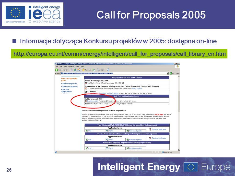Call for Proposals 2005 Informacje dotyczące Konkursu projektów w 2005: dostępne on-line.
