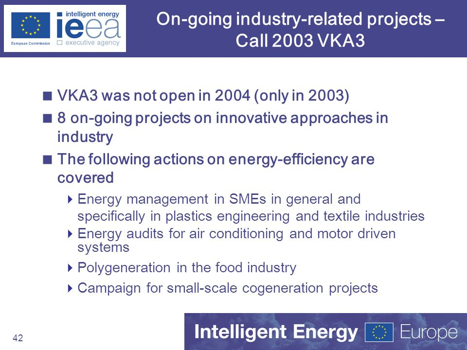 On-going industry-related projects – Call 2003 VKA3