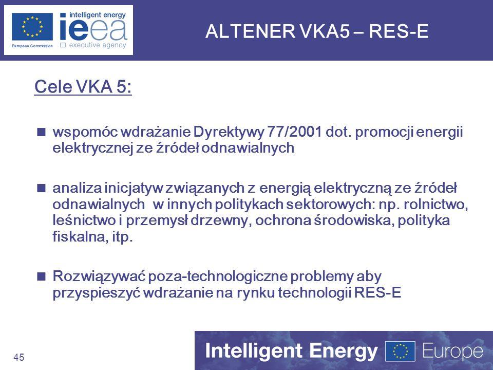 ALTENER VKA5 – RES-E Cele VKA 5: