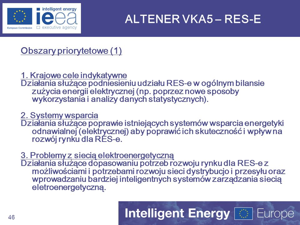 ALTENER VKA5 – RES-E Obszary priorytetowe (1)