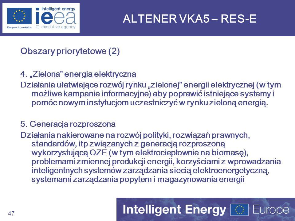ALTENER VKA5 – RES-E Obszary priorytetowe (2)