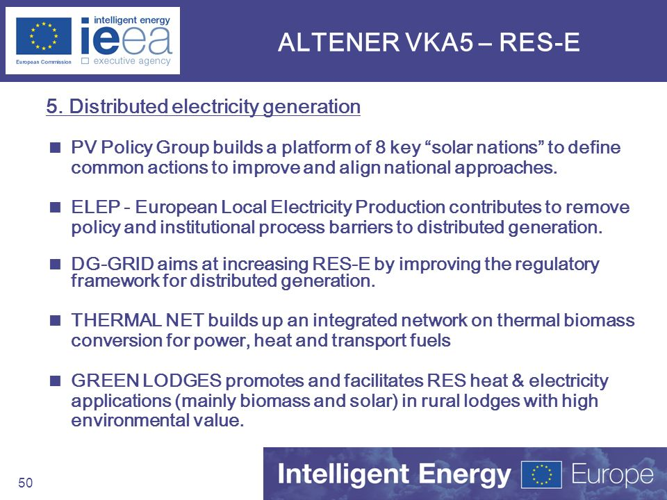 ALTENER VKA5 – RES-E 5. Distributed electricity generation