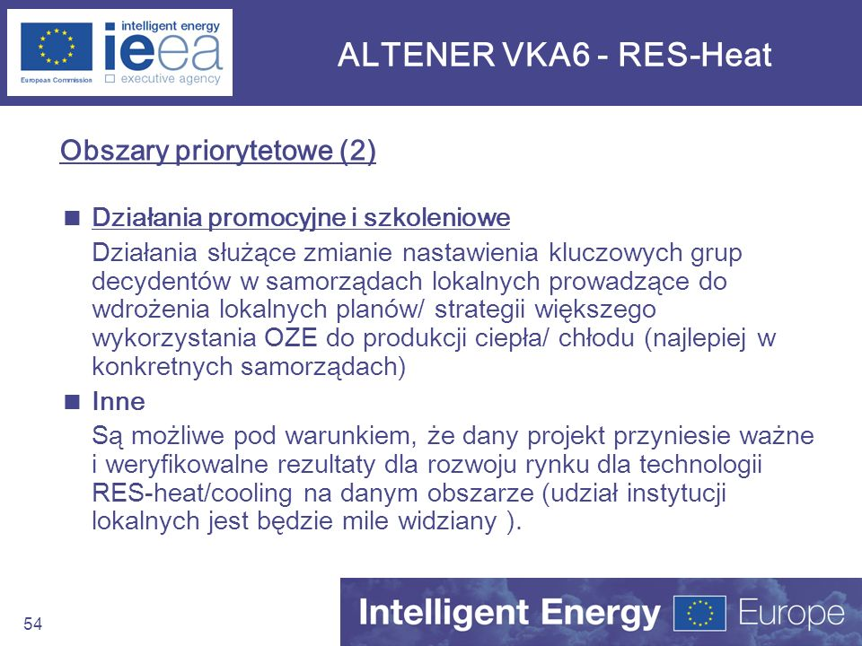 ALTENER VKA6 - RES-Heat Obszary priorytetowe (2)