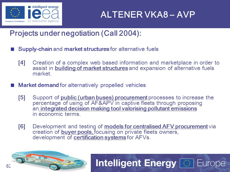 ALTENER VKA8 – AVP Projects under negotiation (Call 2004):