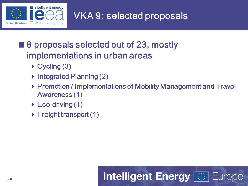 VKA 9: selected proposals