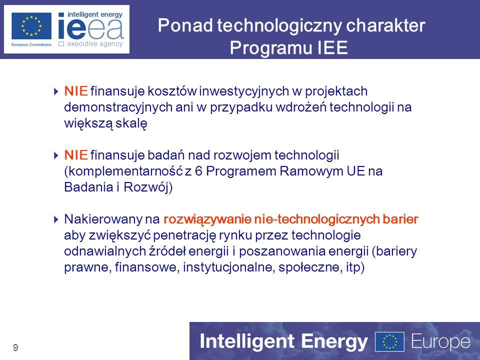 Ponad technologiczny charakter Programu IEE