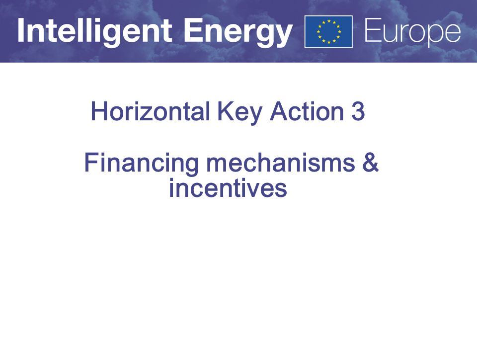 Horizontal Key Action 3 Financing mechanisms & incentives