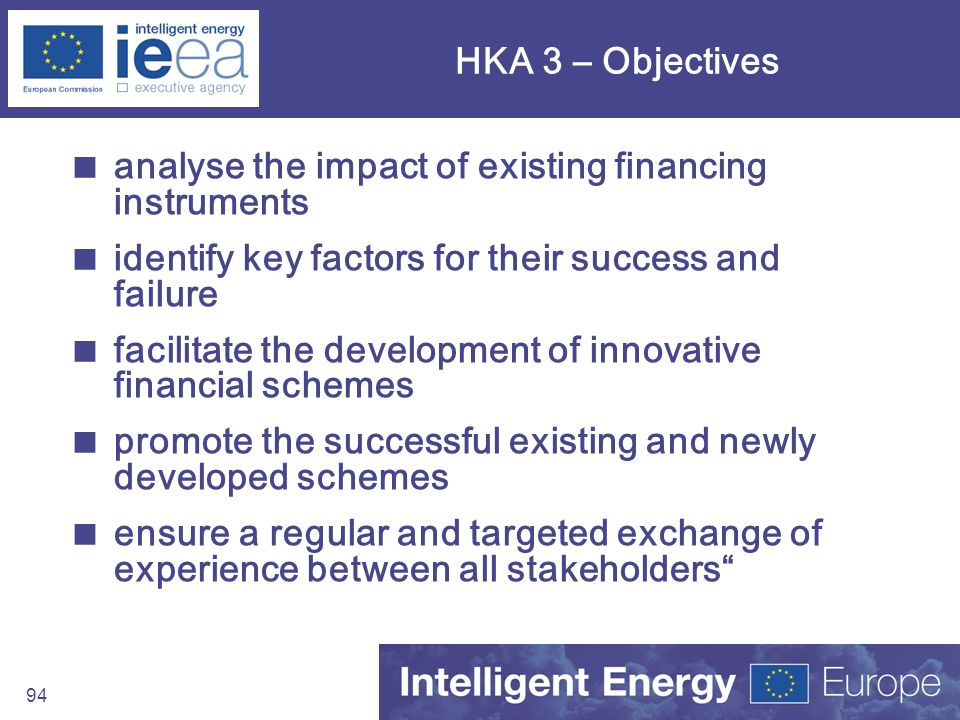 HKA 3 – Objectives analyse the impact of existing financing instruments. identify key factors for their success and failure.