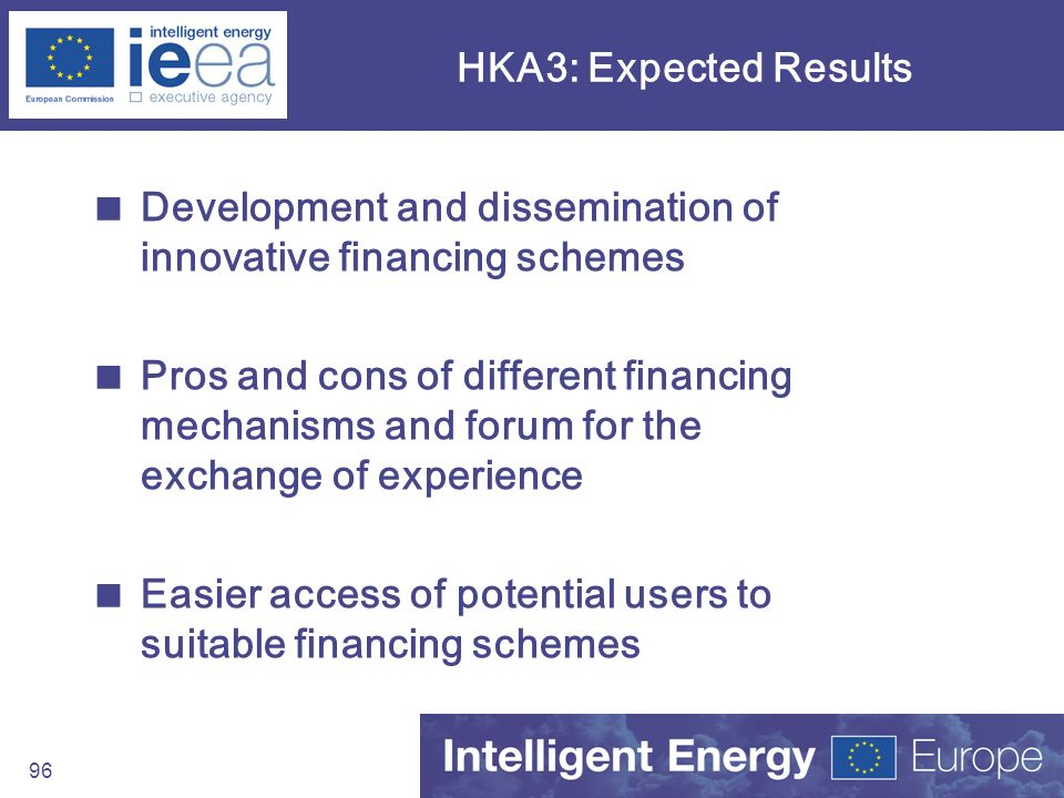 HKA3: Expected Results Development and dissemination of innovative financing schemes.