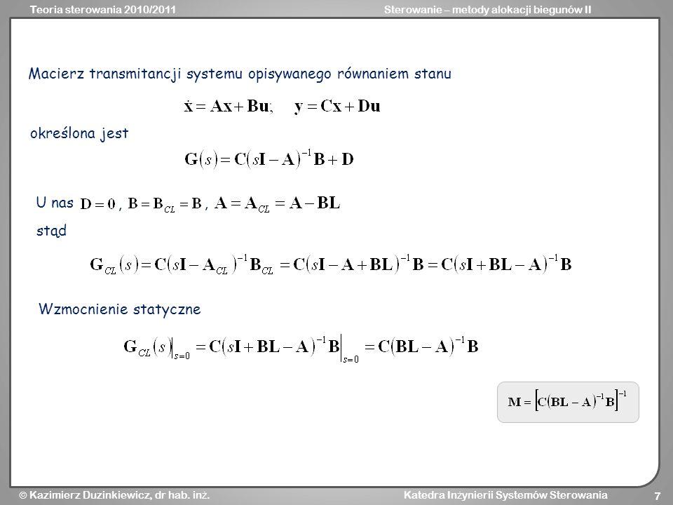 Macierz transmitancji systemu opisywanego równaniem stanu