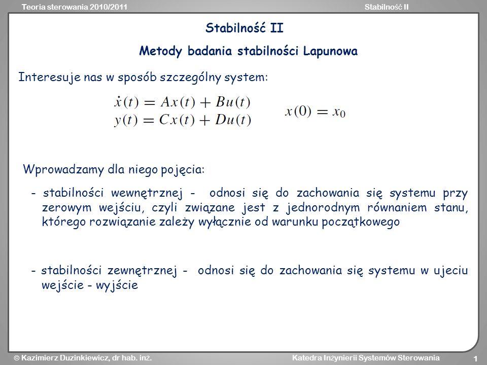 Metody badania stabilności Lapunowa