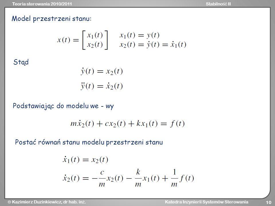 Model przestrzeni stanu: