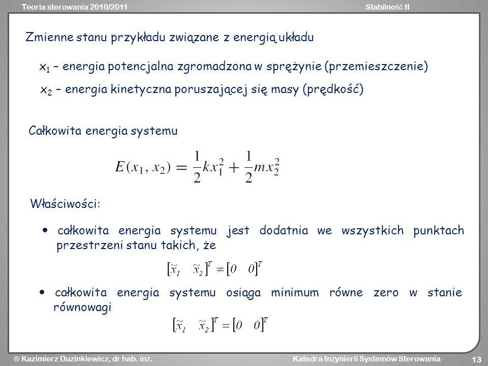 Zmienne stanu przykładu związane z energią układu